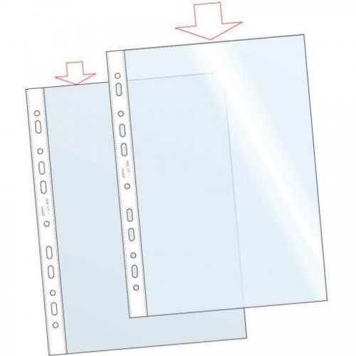 Файлы с перфорацией А4, 100 шт, глянцевые, 50 мкр