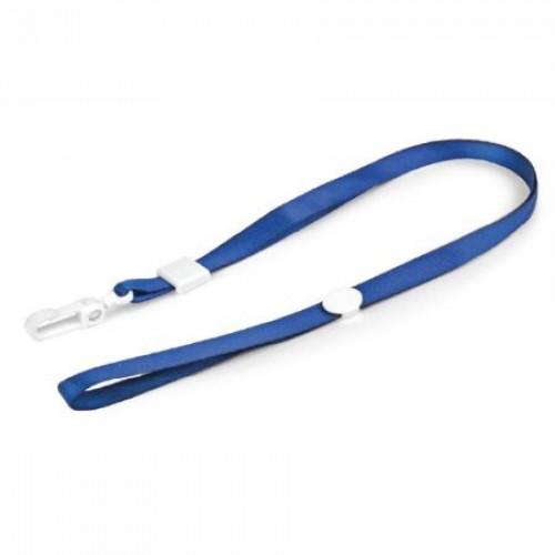 Шнурок для бейджей с пластиковым клипом, 45см, ширина 1,5 см, синий