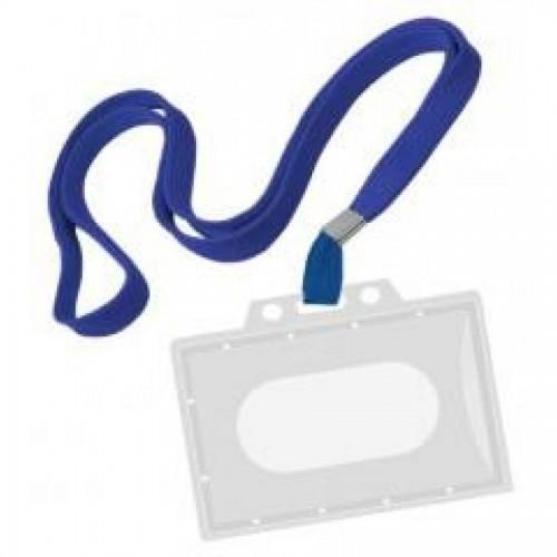 Бейдж горизонтальный, 54 х 90 мм, с синим шнурком, без клипа, жесткий, прозрачный