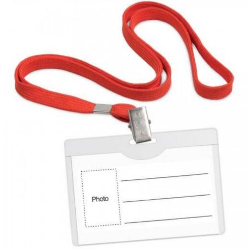 Бейдж горизонтальный, 54 х 90 мм, с красным шнурком, с металлич клипом, прозрачный