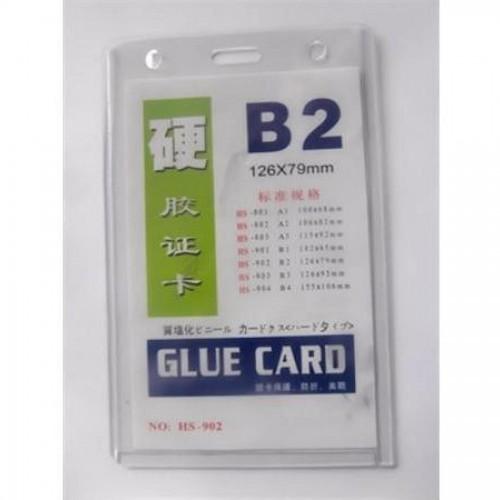 Бейдж вертикальный Glue Card B2, 126х79мм, прозрачный (HS-902)