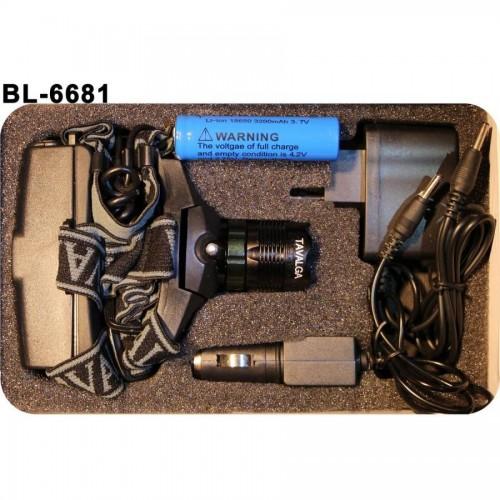 Фонарь наголовный Tavalga BL-6681, батарейки сзади, 3200 mAh, зарядное устр. в комплекте
